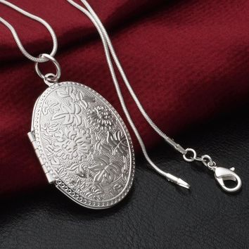 Modyle New Fashion Vintage Photo Locket Pendant Necklace Sliver Plated Jewelry Necklaces & Pendants Women Gift Free Shipping