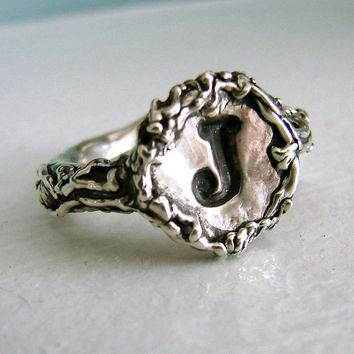 Custom Monogram Wax Seal Ring - Silver Art Nouveau