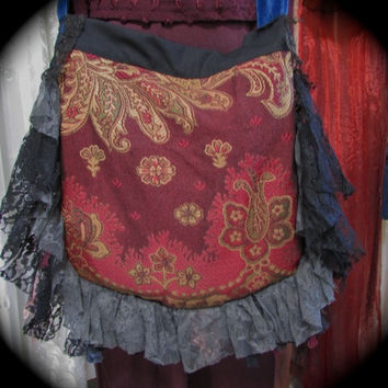 Velvet Gypsy Purse, crossover body Strap, handmade velvet layers lace fringe embellished, victorian hippie carpet bag, GrandmaDede on Etsy