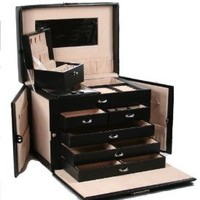 Amazon.com: SHINING IMAGE tea2 HUGE BLACK LEATHER JEWELRY BOX / CASE / STORAGE / ORGANIZER WITH TRAVEL CASE AND LOCK: Home & Kitchen