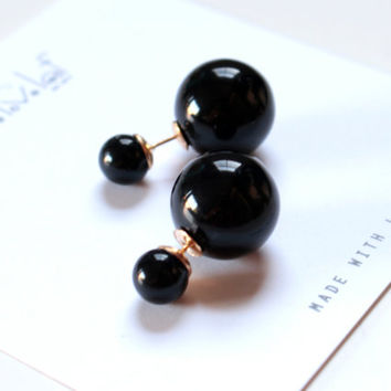 Black double pearl earrings, Tribal style Faux Pearl stud earrings trendy double facing bauble celebrity style statment jewelry Christmas