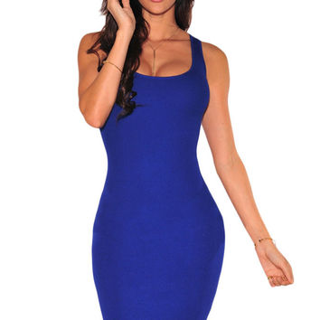 Royal Blue Scoop Neck Lace up Back Dress