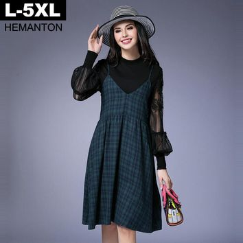 Green Color Plaid Spaghetti Strap Dress For Women Spring V Neck Sleeveless A-line Women Dresses