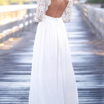 White Patchwork Lace Draped Backless V-neck Long Sleeve Elegant Maxi Dress
