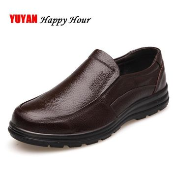 Genuine Leather Shoes Men Brand Footwear Non-slip Thick Sole Fashion Men's Casual Shoes Male High Quality Cowhide Loafers K059