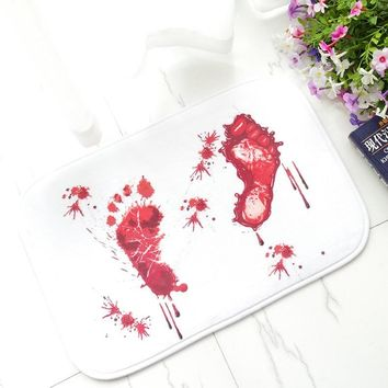 Halloween Decor Novelty Doormat Blood Carpet Bathroom Water Absorption Non-slip Rug Horror Terror Bloody Footprint Carpet