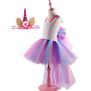 Unicorn Party Dress for Little Girls Rainbow Pony Wedding Birthday Girl Dress Tutu 2-10 Y Summer Children Clothing