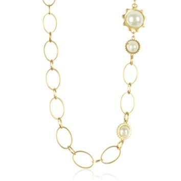 Tory Burch Designer Necklaces Gold Tone Gear Convertible Necklace