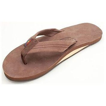 Men's Premier Leather Single Layer Arch Sandal in Expresso by Rainbow Sandals
