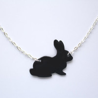 Handmade Bunny Rabbit necklace, designed and carefully cut by hand- in black and pastel colours for spring  and easter time