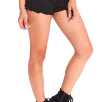 RUFFLED SUEDE SHORTS - BLACK