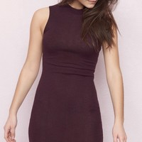 Mock Neck Open Bodycon Dress