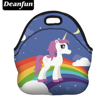 Deanfun Cute Lunch Bags 3D Printed Rinbow Unicorn Neoprene with Zipper Portable for Kid Picnic 73008