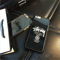 New USA Brand Stussy logo Paris London New York Silver Mirror Case for iphone 5/5s 6/6 plus cover funda coque for iphone cases