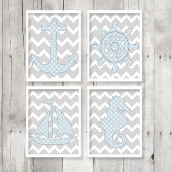 Nautical Print Set - INSTANT DOWNLOAD - Chevron Polka Dot Wall Art, Sailboat, Anchor, SeaHorse, Helm