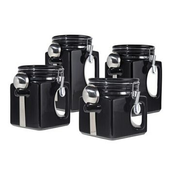 Black 4 Pc. EZ GRIP Airtight Ceramic Canisters with Stainless Steel Spoons