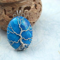 Blue Howlite Tree of Life silver-plated wire-wrapped pendant