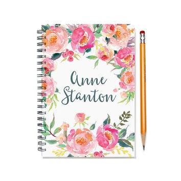 12 month 2017 Planner, custom gift, personal agenda planner, weekly planner calendar, desk diary, sister gift, floral design SKU: pli pwf2
