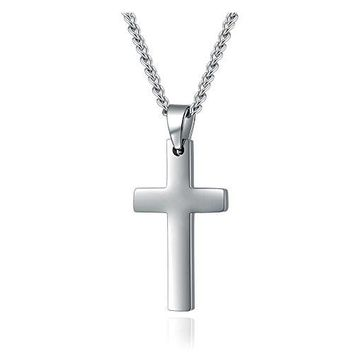 SHIP BY USPS Mens Womens Simple Cross Pendant Stainless Steel Titanium Necklace