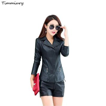 Timmiury 2017 Spring Women Short Sexy Leather Jackets Black/Red Plus Size 4XL Slim Fit Veste Cuir Femme jaqueta Shearling Coats