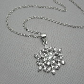 Snowflake Necklace, Sterling Silver and CZ Snowflake Necklace, Christmas Gift Necklace, Winter Wedding Necklace, Bridesmaid Necklace