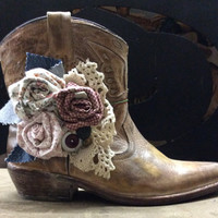 Cowboy Boot Accessories with Hand Made Fabric Rose Flowers Vintage Buttons and Lace Boot Bling Boot Bracelet, Wrap Bracelet