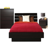 Walmart: Laguna 3-Piece Full Bed, Night Stand and 5-Drawer Chest Set, Lacquered Espresso