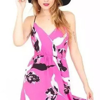 Fuchsia Floral Printed Strappy Dress