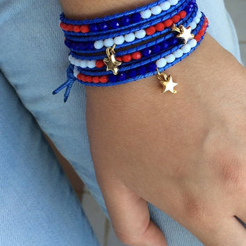 Beaded Bracelet, 4th of July Bracelet, 4 Wrap Bracelet, Red Blue White, Leather Bracelet, Gold Star Bracelet, Boho Bracelet, Birthday Gift