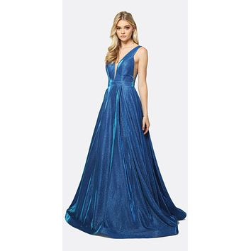 Low V Neck Illusion Side Panel Glitter Royal Blue Prom Gown