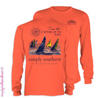 Simply Southern Collection Captain Of My Soul Girlie Bright Long Sleeve T Shirt