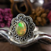 Ethiopian Opal Sterling Silver Ring - Size 7.0