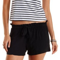 Black Drawstring Ruffle Shorts by Charlotte Russe
