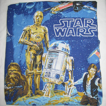Vintage Star Wars 1977 A New Hope Bedding Twin Size Flat Sheet Craft Fabric Clean