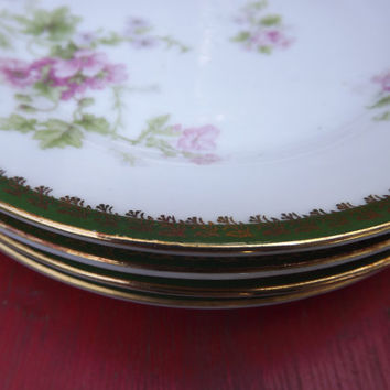 Small Floral Plates, Vintage Bread Plates Set of 4 Dessert Plates, Pink and Green Plates, Anitque Flower Plates, Gold band plates