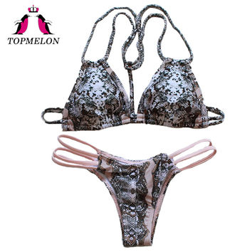 Topmelon Bikini Swimsuit Women Print Push Up Sexy Leopard Hollow Out Triangle Brazilian 2017 Bikini Low Waist Women Bikini Sets