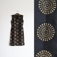 vintage black and gold painted dress - sleeveless sundress - summer spring - boho bohemian hippie - printed stamped - women small s