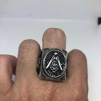 Vintage Gothic Stainless Steel Free Mason G Star of David Mens Ring