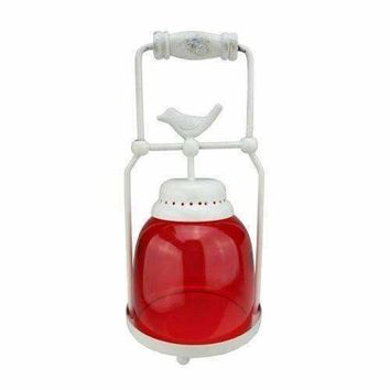 "11.75"" Decorative Red and White Antique Inspired Avian Bird Glass Votive Candle Holder Lantern"