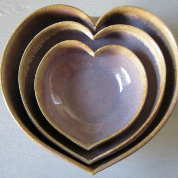 amethyst nesting heart shaped bowl set 4 inches