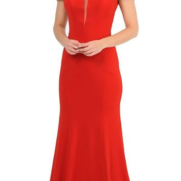 Off-Shoulder Red Long Formal Dress with Sheer Cut-Out Bodice