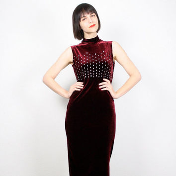 Vintage Velvet Dress 1990s Dress Grunge Dress 90s Dress Maxi Dress Burgundy Oxblood Silver Glitter Bandage Dress Goth Slit Bodycon Dress S M