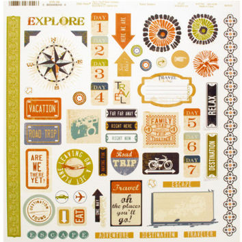 Travel Words & Icons Sticker Sheet Case Pack 24