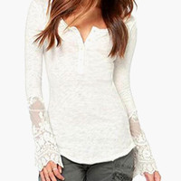 Floral Lace Accent Long Sleeve Top