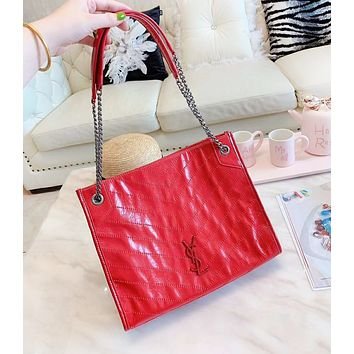YSL New fashion leather shoulder bag handbag women Red