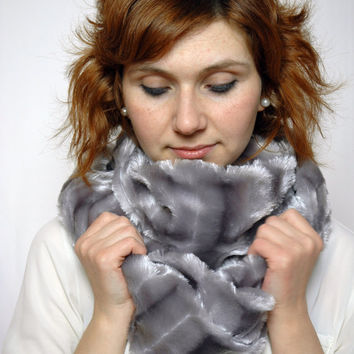 Grey Fluffy Striped Plush Cowl , Faux Fur Loop Infinity Scarf , Mother's Day Gift Idea, For Mother