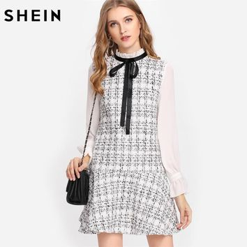 SHEIN Black and White Women Dresses Frilled Neck Drop Waist Tweed Dress Autumn Long Sleeve Tie Neck A Line Dress