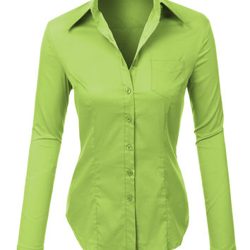 LE3NO Womens Lightweight Button Down V Neck Shirt with Stretch (CLEARANCE)