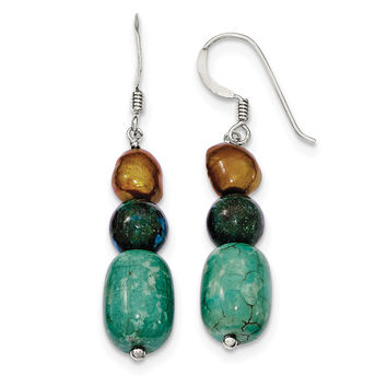 Sterling Silver Howlite/Stabilized Chrysocolla/Brown FW Cultured Pearl Ear QE6411