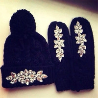 Winter Cap Hat Warm Hat and Gloves set with diamond